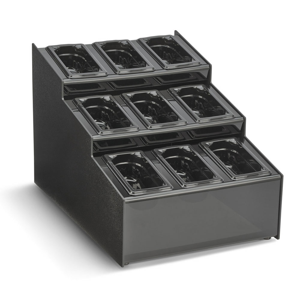 "Vollrath CTCPAN9-9 9-Compartment Condiment Organizer - 15.5"" x 22"" x 14.63"", Plastic, Black"