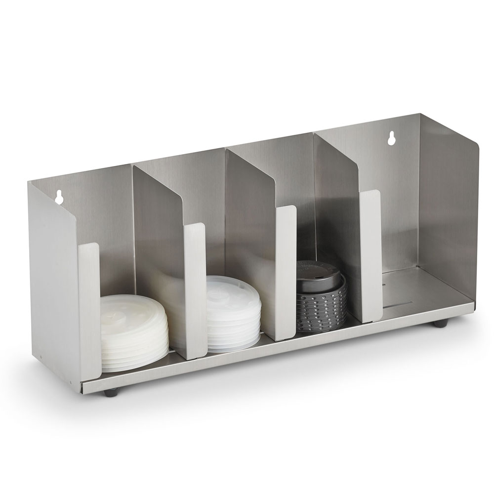 """Vollrath CTL4 4-Section Lid Organizer w/ Straw Holder - 16.5"""" x 8"""", Stainless"""