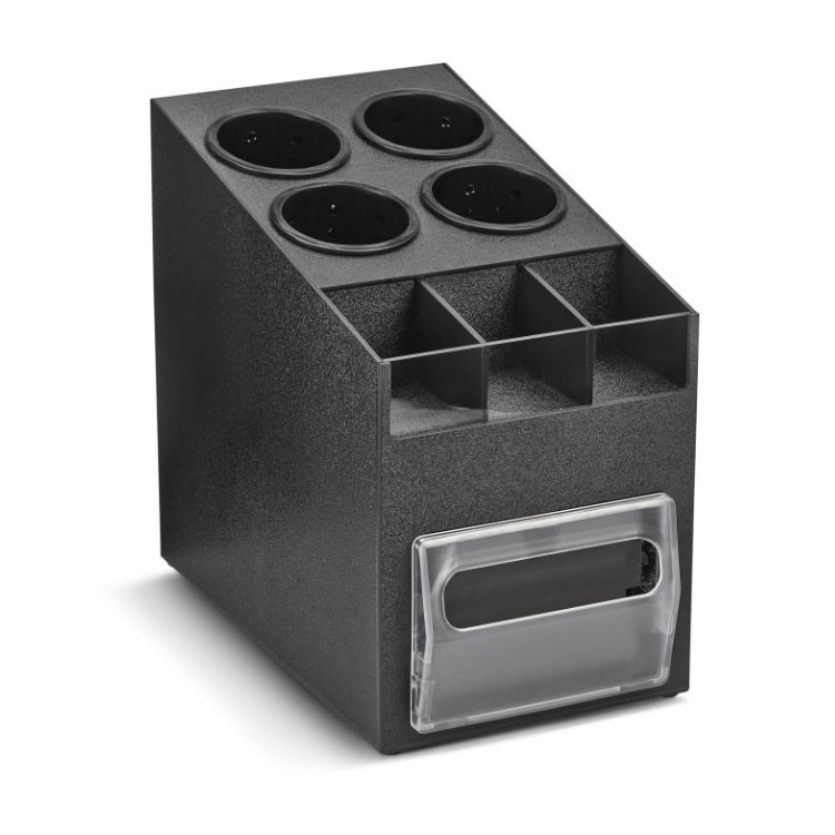 "Vollrath CTNCLS-06 100-Napkin Dispenser w/ Cup, Lid, & Straw Organizer - 9"" x 15.19"", Plastic, Black"
