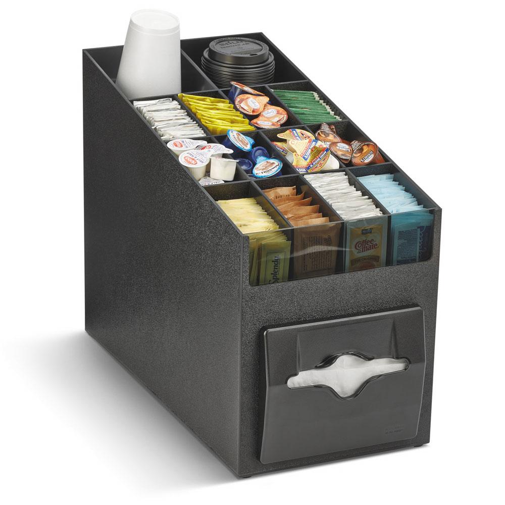 """Vollrath CTNO-06 100-Napkin Dispenser w/ Adjustable Condiment Compartments - 9"""" x 15.19"""", Plastic, Black"""