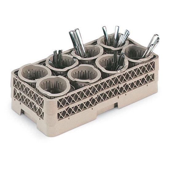 Vollrath HR-1370 Flatware Dishwasher Rack - Half-Size, (8)Cylinders, Plastic, Beige