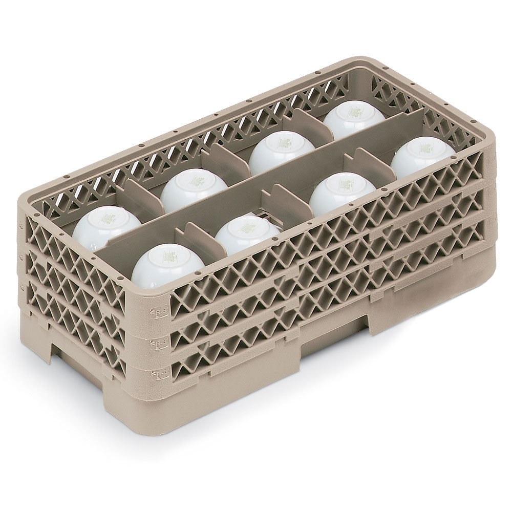 Vollrath HR-1B1BB Dishwasher Rack - Half-Size, 8-Compartment, (3)Compartment Extenders, Beige