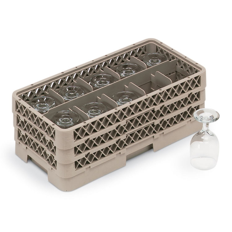 Vollrath HR-1C1CA Dishwasher Rack - Half-Size, 10-Compartment, (1)Open, (2)Compartment Extender, Beige