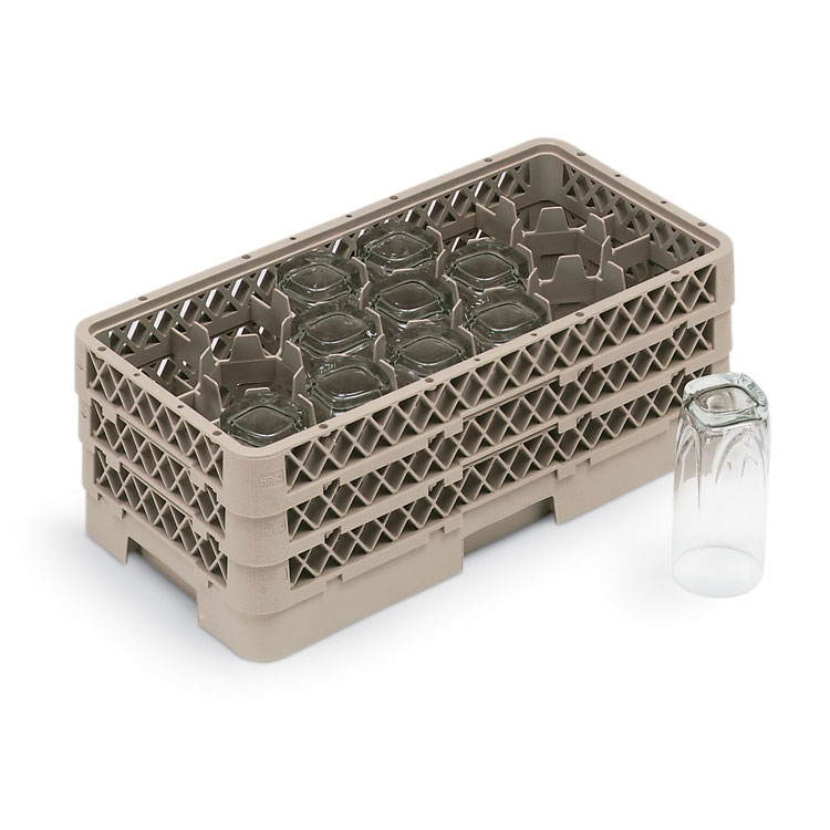 Vollrath HR-1D1DD Dishwasher Rack - Half-Size, 17-Compartment, (3)Compartment Extenders, Beige