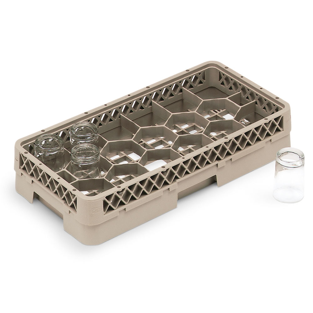 Vollrath HR-1FF Dishwasher Rack - Half-Size, 17-Hexagon Compartment, (2)Compartment Extender, Beige
