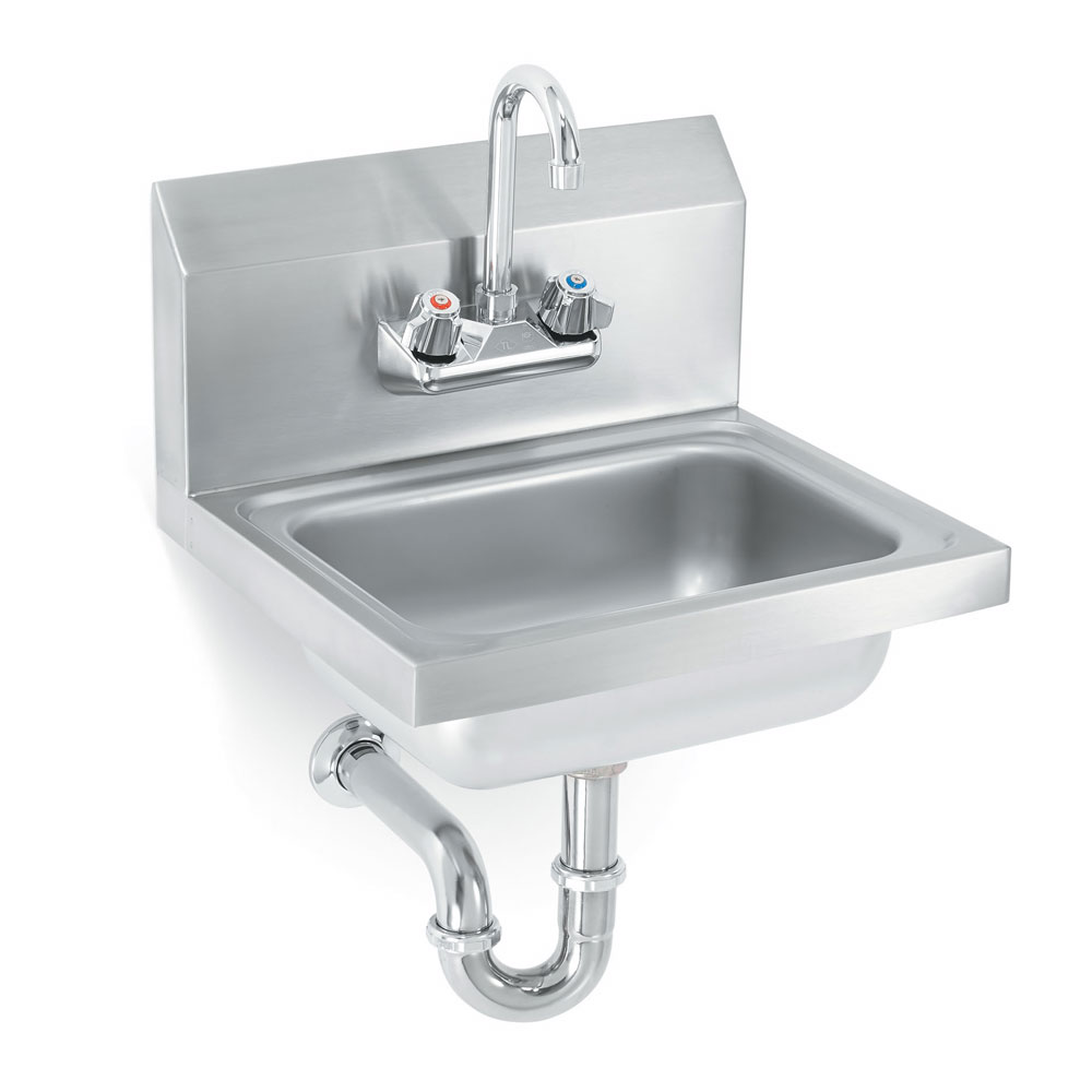 "Vollrath K1410-CP Wall Mount Commercial Hand Sink w/ 17""L x 15""W x 5.5""D Bowl, Gooseneck Faucet"