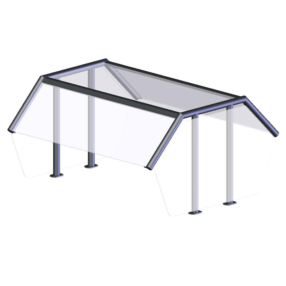 Vollrath NPB89288 Breath Guard - Top Shelf, Double-Sided 5-Well Buffet, Acrylic Panels, Glass/Aluminum