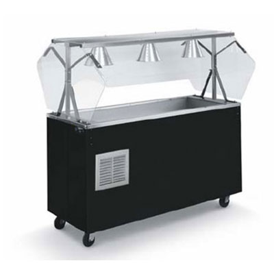 Vollrath R3871346 3-Well Cold Station with Lights - Buffet Breath Guard, Solid Base, Black 120v