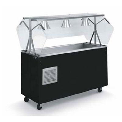 Vollrath R38715 3-Well Cold Station - Enclosed Buffet Breath Guard, Storage Base, Black 120v