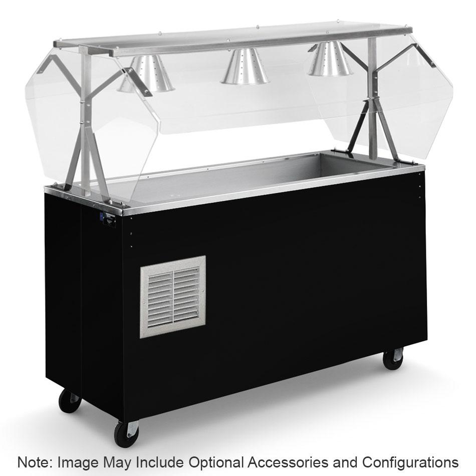 Vollrath R38718 4-Well Cold Station - Enclosed Buffet Breath Guard, Storage Base, Black 120v