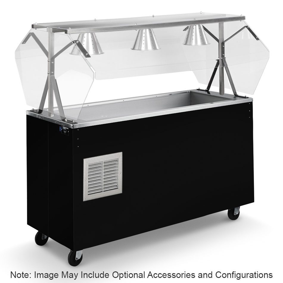 Vollrath R39717 4-Pan Cold Cafeteria Unit - Breath Guard, Open Base, Black 120v