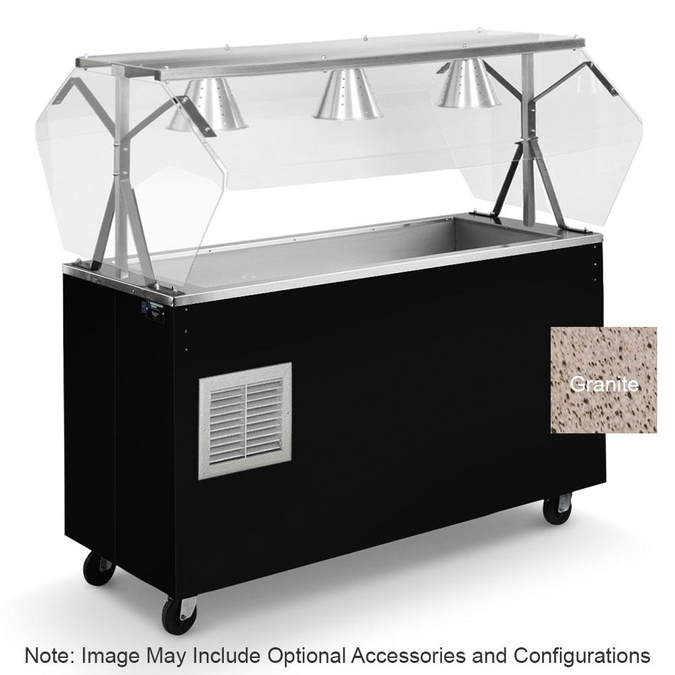 Vollrath R39737 4-Pan Cold Cafeteria Unit - Breath Guard, Open Base, Granite 120v