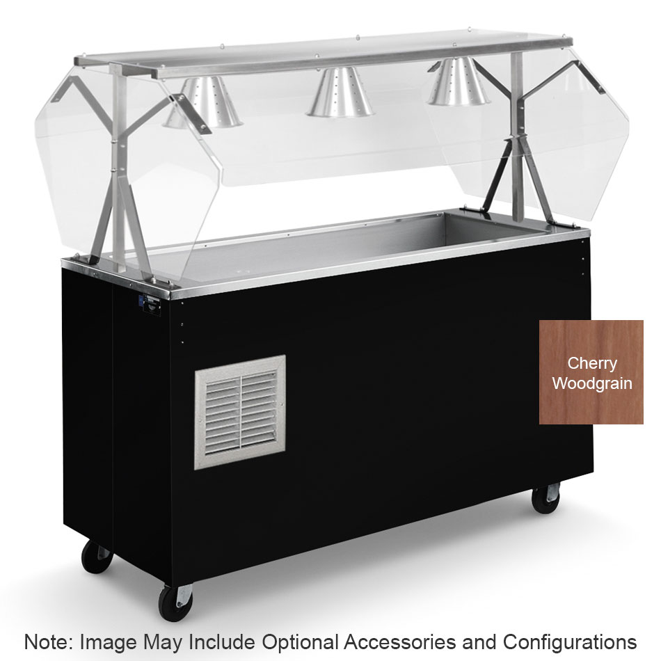 Vollrath R39773 3-Pan Cold Cafeteria Unit - Breath Guard, Solid Base, Cherry 120v