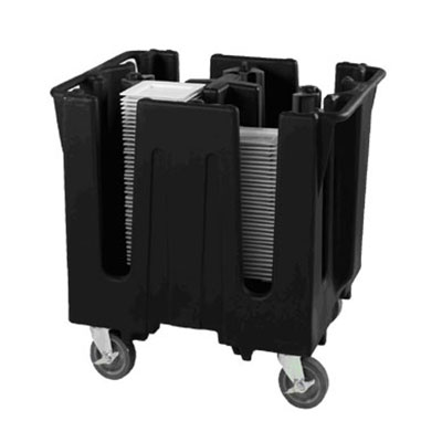 """Vollrath SAC-4D-06 Small Dish Caddy with Cover - Adjustable, 4 Post, 4 Stacks, Fits 11-1/2-12-1/2"""" Black"""