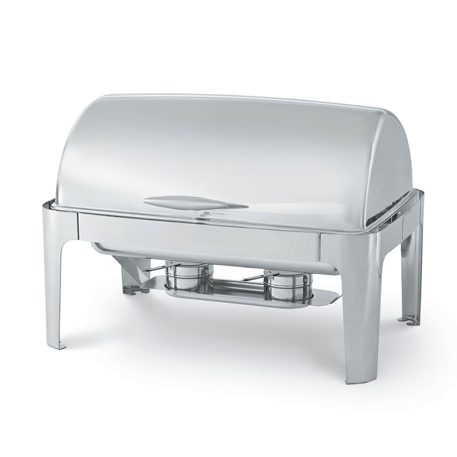 Vollrath T3500 8 qt Rectangular Roll Top-Chafer, Welded Frame, Two Fuel Holders