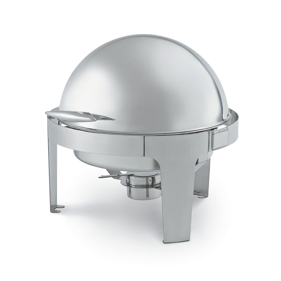 Vollrath T3505 7 qt Round Roll-Top Chafer, Welded Frame, Two Fuel Holders