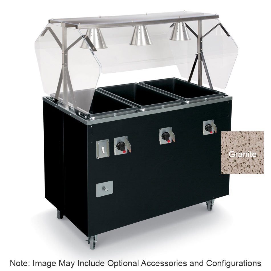 Vollrath T387312 4-Well Hot Food Station - Open Base, Thermostat, Manifold Drain, Granite 208-240v