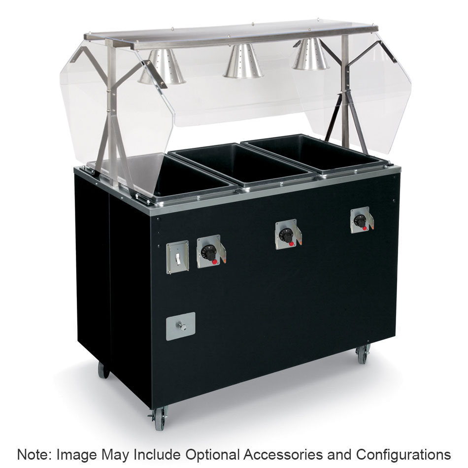 Vollrath T39708 3-Well Hot Cafeteria Unit - Open Base, Thermostat, Manifold Drain, Black 120v