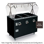 Vollrath T39948 4-Well Hot Cafeteria Unit - Open Base, Thermostat, Manifold Drain, Walnut 120v