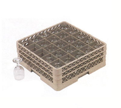 Vollrath TR-6BBB-32S Full-Size Dishwasher Glassware Rack - 25-Compartment, 3-Extenders, Beige