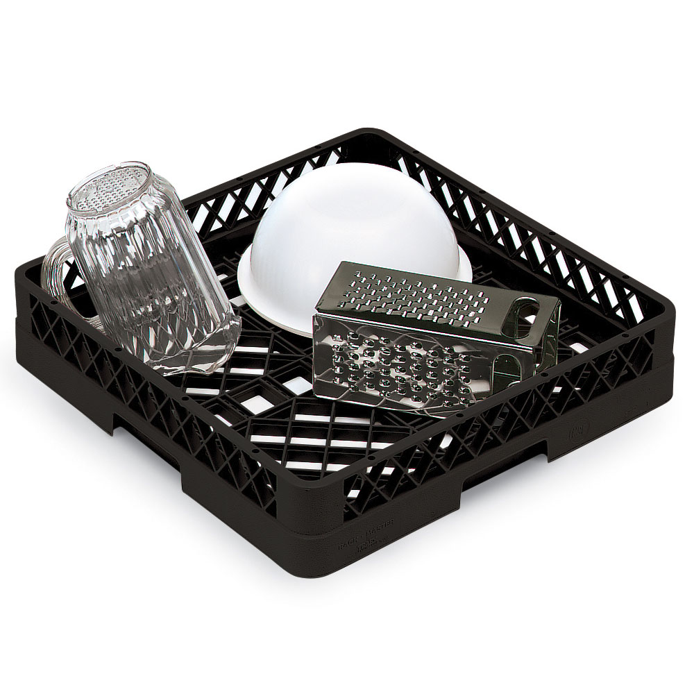 Vollrath TR-1-06 Full-Size Dishwasher Rack - Open Bottom and Sidewall, Black
