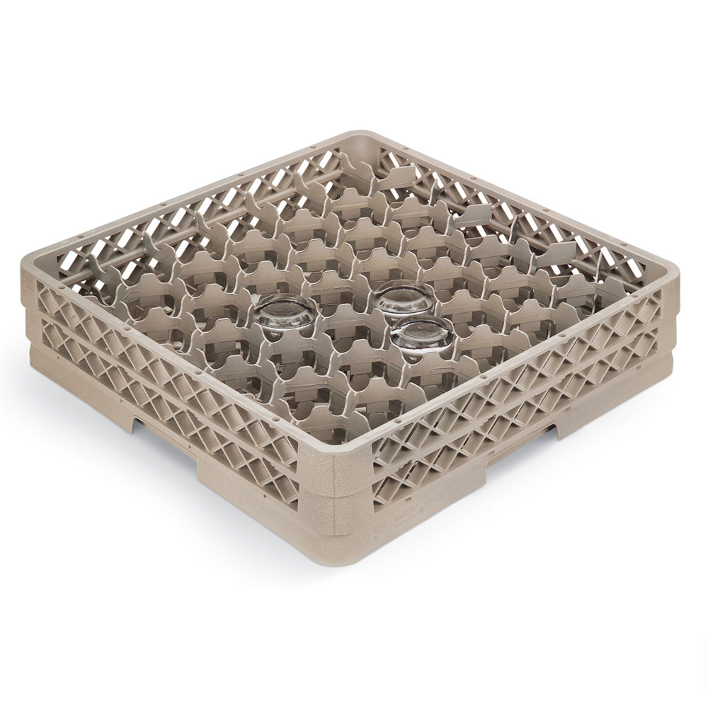 Vollrath TR-13MM Full-Size Glassware Rack - Low-Profile 42-Compartment, 2-Extenders, Beige