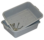 "Vollrath 1502-31 Dish Soak System - Drain and Soak Box, 20x15x5-3/4"", Plastic, Gray"