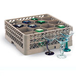 Vollrath TR-18JJJJ Full-Size Glassware Rack - 12-Compartment, 4-Extenders, Beige
