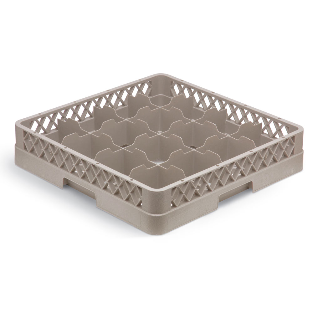 Vollrath TR-4DA Full-Size Dishwasher Cup Rack - 16-Compartment, 2-Extenders (1 Open), Beige