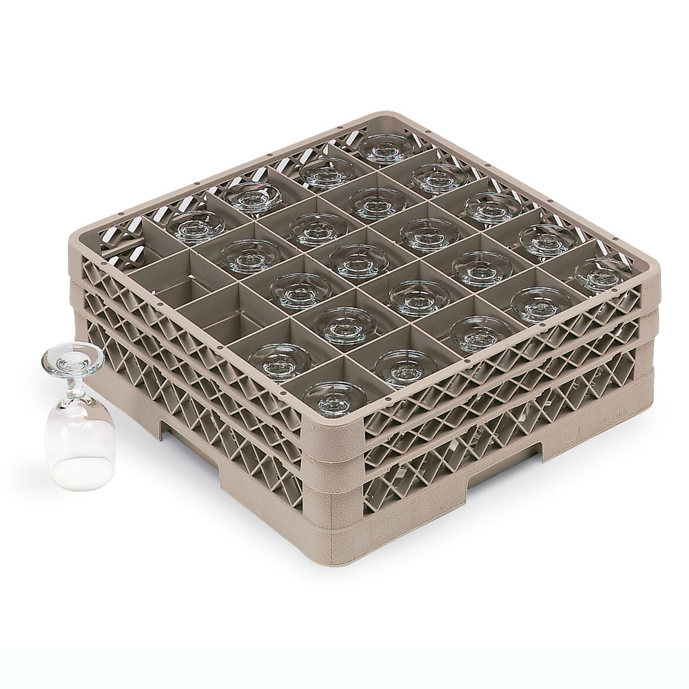 Vollrath TR-6BBBBB Full-Size Dishwasher Glassware Rack - 25-Compartment, 5-Extenders, Beige