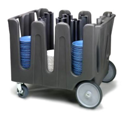 Vollrath ADC-10 Dish Caddy with Cover - 10-Posts, 9-Stacks, Adjustable, Gray