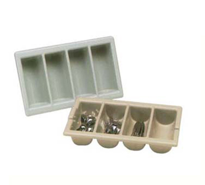 "Vollrath 1375-01 Four-Compartment Cutlery Box - Handles, 12-7/8 x 20-7/8"", Brown"