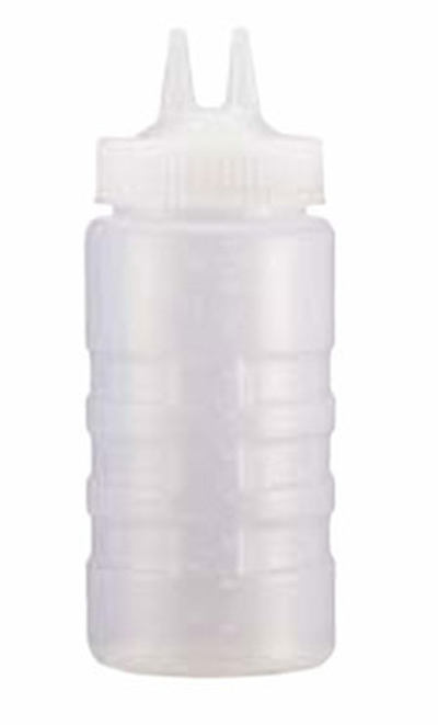 Vollrath 2316-13 16-oz Twin Tip Squeeze Bottle - Wide Mouth, Clear
