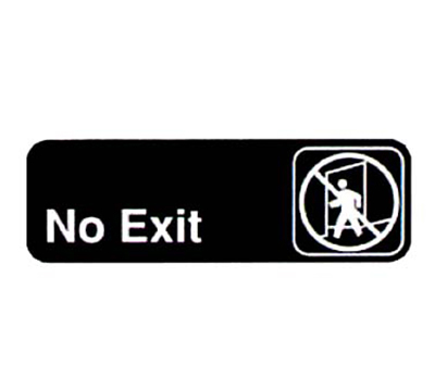 "Vollrath 4508 No Exit Sign - 3x9"" White on Black"
