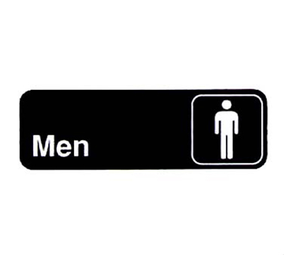 "Vollrath 4515 Men Sign - 3x9"" White on Black"