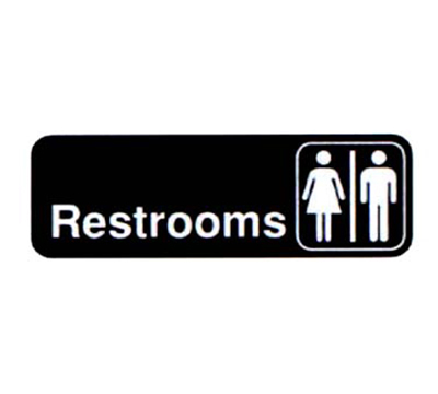 "Vollrath 4517 Restrooms Sign - 3x9"" White on Black"