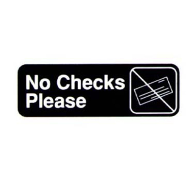"Vollrath 4520 No Checks Please Sign - 3x9"" White on Black"