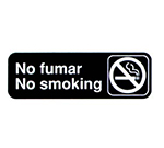 "Vollrath 4589 No Fumar/No Smoking Sign - 3x9"" White on Black"