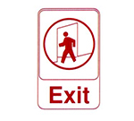 "Vollrath 5609 6x9"" Exit Sign - Red on White"