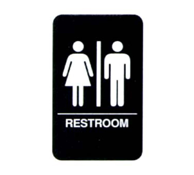 "Vollrath 5633 6x9"" Restroom Sign - Braille, White on Black"