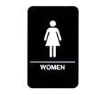 Vollrath 5634 Women Sign, Braille, 6 x 9-in, White-On-Black
