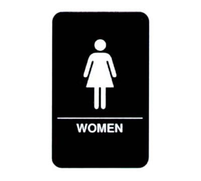 """Vollrath 5634 6x9"""" Women Sign - Braille, White on Black"""