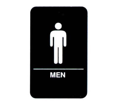 "Vollrath 5635 6x9"" Men Sign - Braille, White on Black"