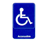 "Vollrath 5644 6x9"" Accessible Sign - White on Blue"