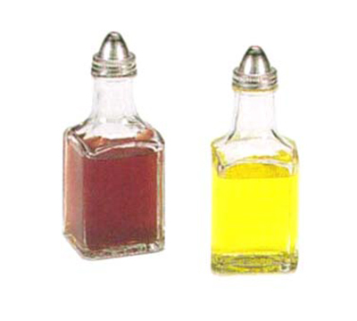 Vollrath 68020-0 5-oz Oil & Vinegar Cruet Set - Square Glass Jar