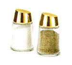 Vollrath 802G-12 2-oz Salt/Pepper Shaker - Continental, Round Bottom, Gold Sloped Cap, Glass