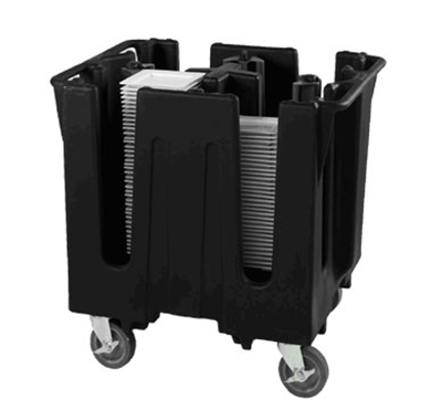 "Vollrath SAC-4D-06 Small Dish Caddy with Cover - Adjustable, 4 Post, 4 Stacks, Fits 11-1/2-12-1/2"" Black"