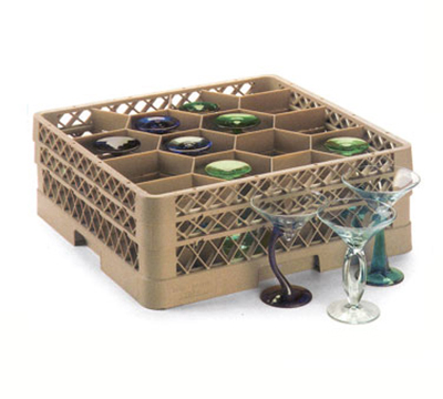 Vollrath TR-18J-19 Full-Size Glassware Rack - 12-Compartment, 1-Extender, Green