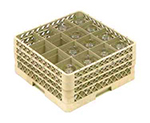 Vollrath TR-8DDD-08 Full-Size Glassware Rack - 16-Compartment, 3-Extenders, Yellow