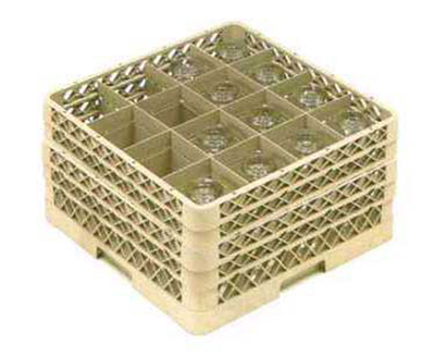 Vollrath TR-8DDA-19 Full-Size Glassware Rack - 16-Compartment, 3-Extenders (1 Open), Green